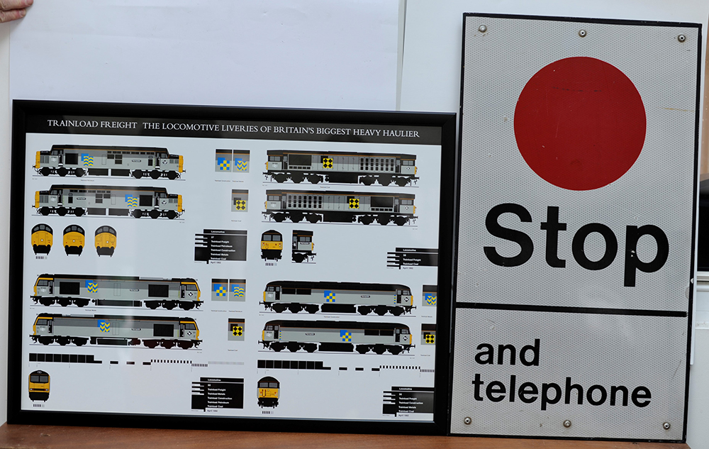 Two Modern Rail Image Signs. Stop And Telephone