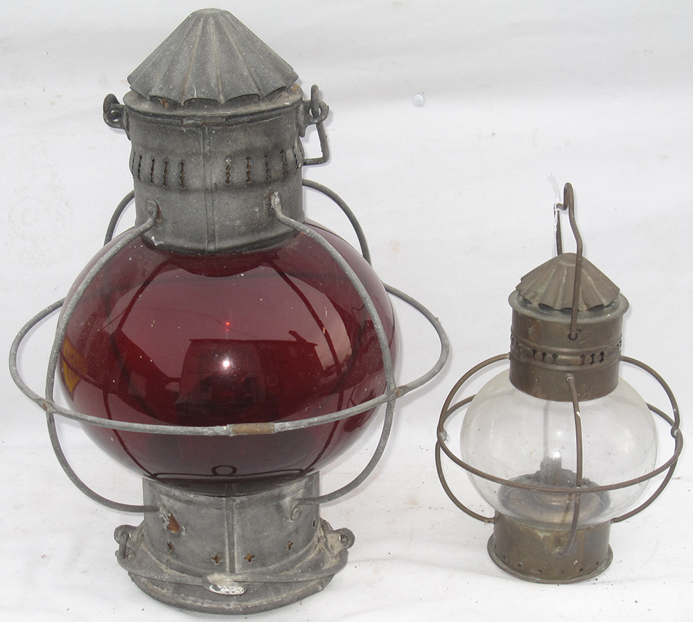 2 X American Railways Lamps.  A Red Globe Lens
