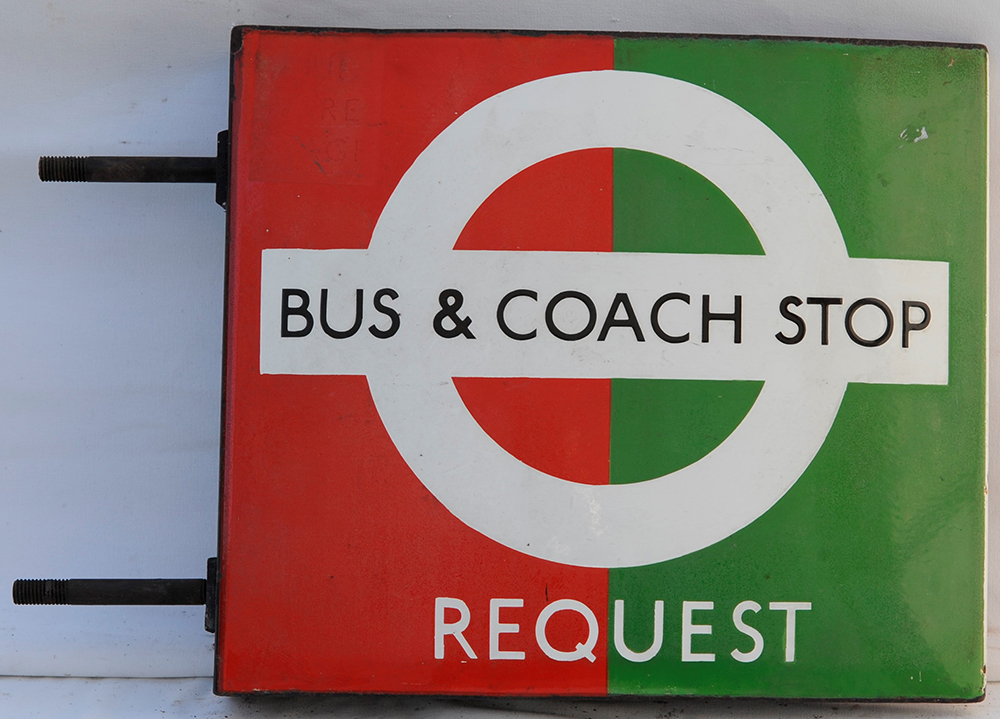 Double Sided Red And Green Bus And Coach Stop