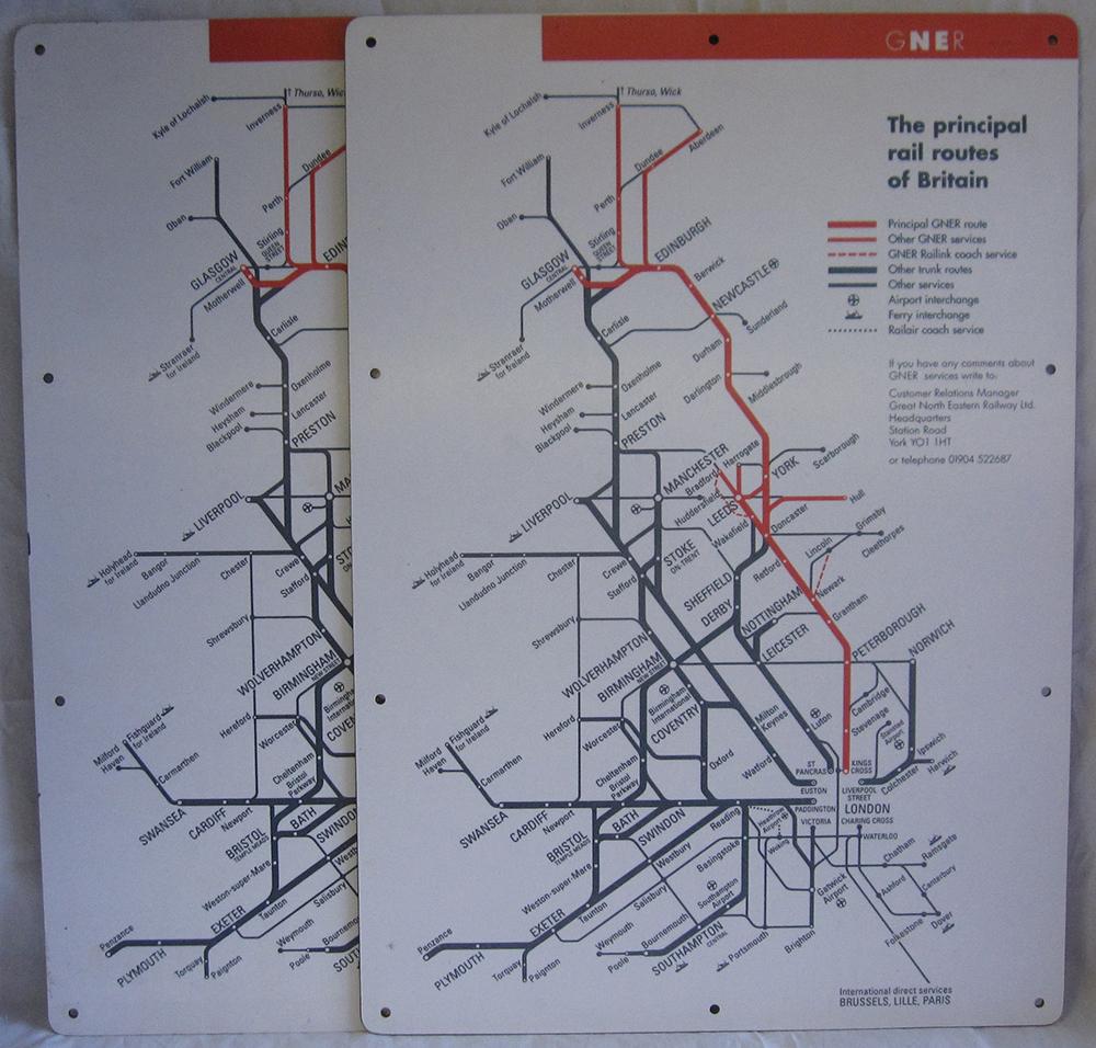 Modern Image Melamine Carriage Maps x2. GNER The
