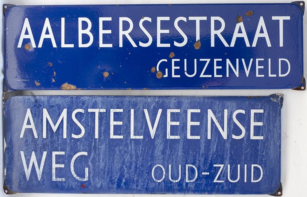 Enamel DUTCH Road Street Signs X 2 AALBERSESTRAAT
