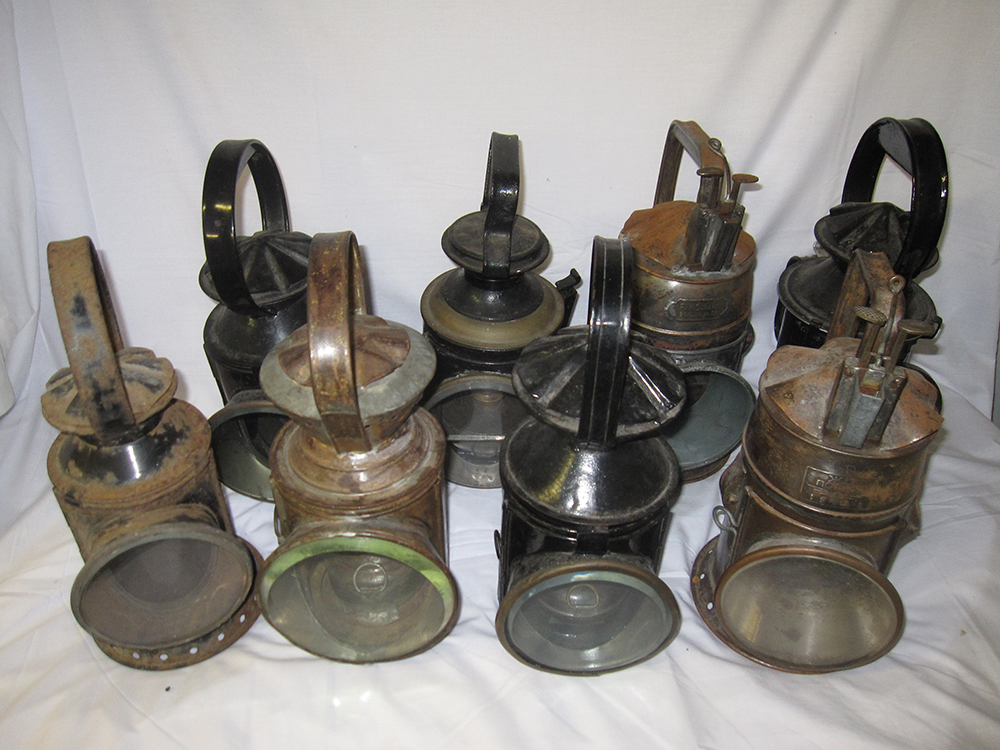 8 Foreign Railway Hand Lamps Mainly Complete.