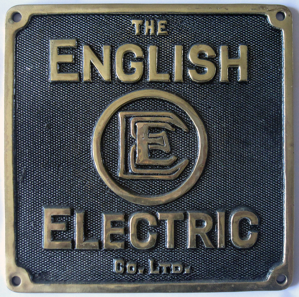 English Electric Makers Plate. The English
