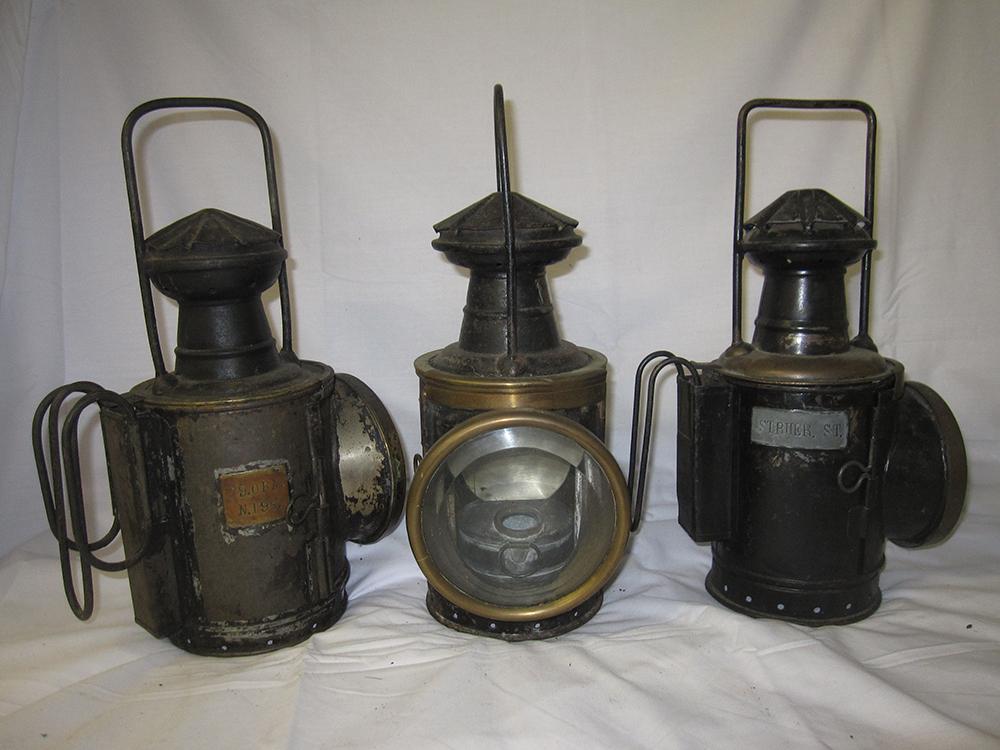 3 Danish Railway Hand Lamps. Plated Struer St And