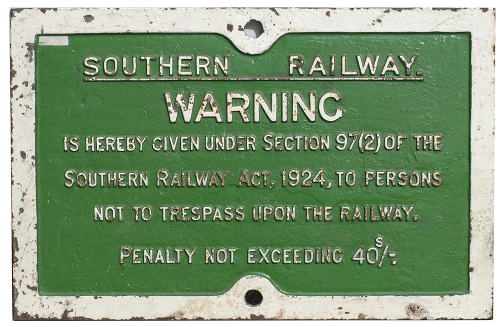 Southern Railway Cast Iron Trespass Sign In
