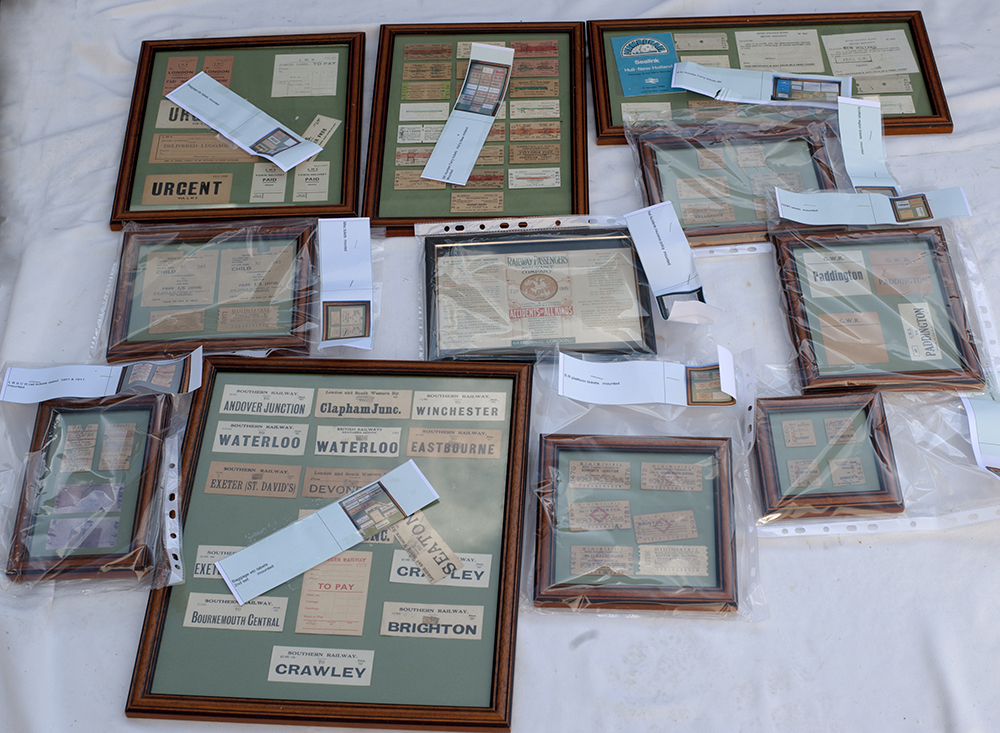 A Quantity Of Framed & Glazed Tickets And Luggage