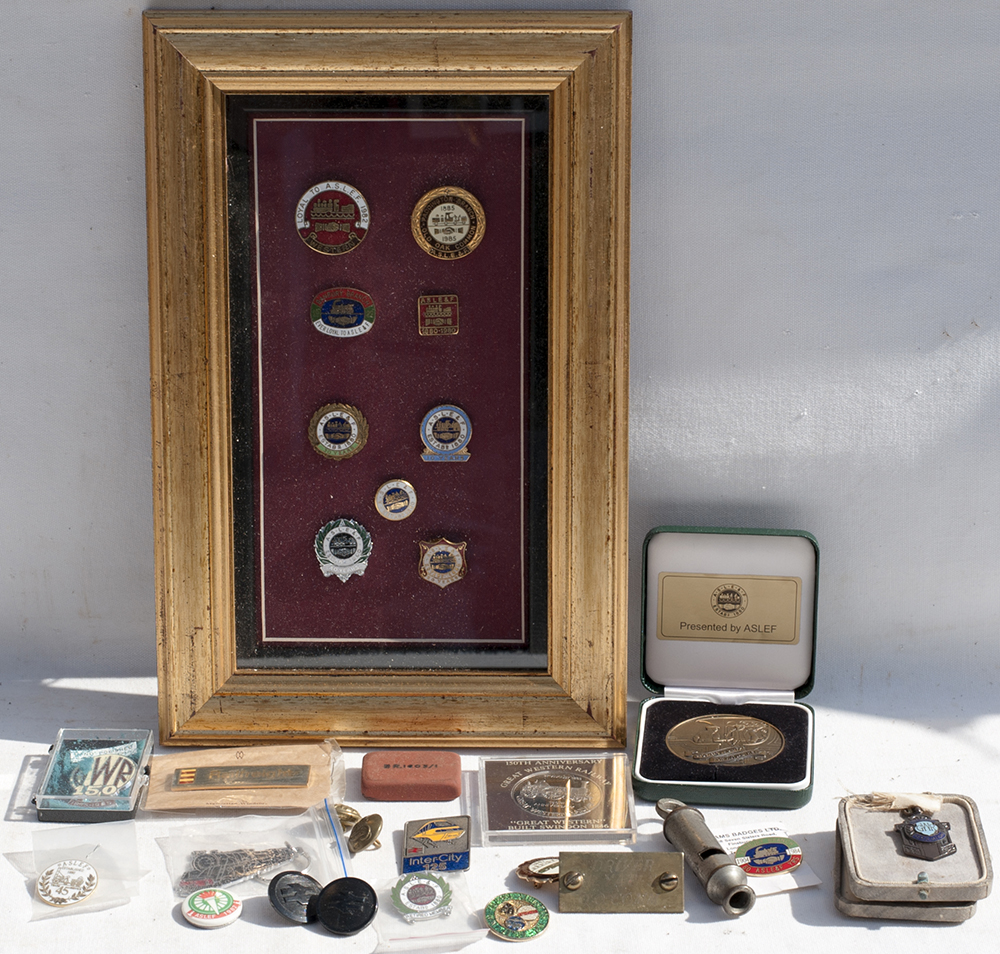 A Collection Of Mainly ASLEF Badges Framed And