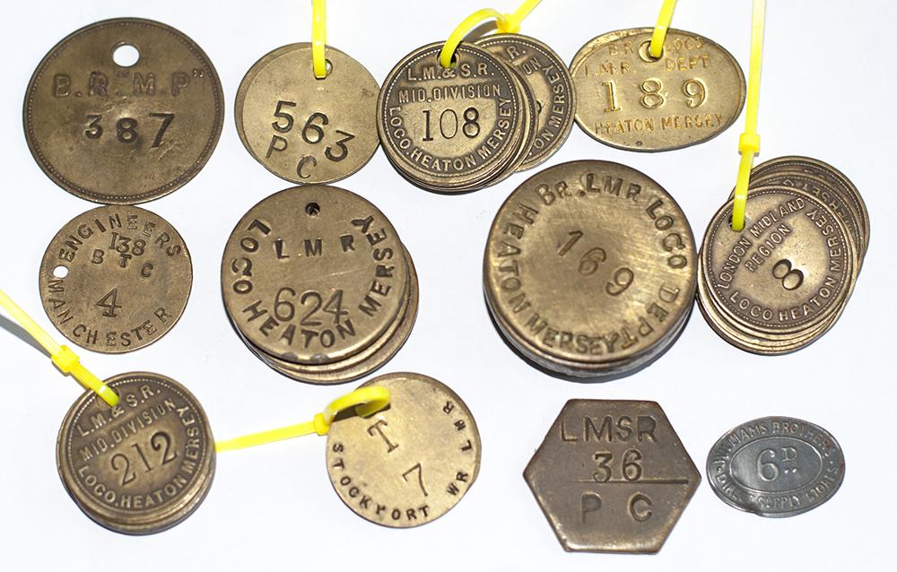46 Brass Railway Paychecks, LMSR Mid Division