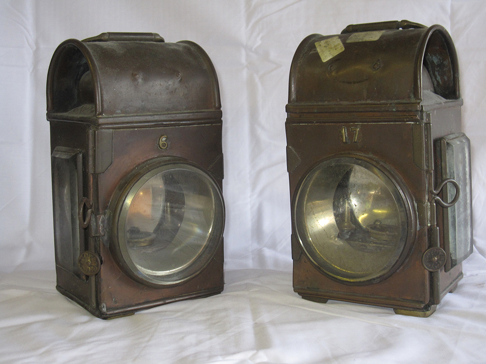 2 Copper Lorry Oil Lamps. One Embossed 17 The