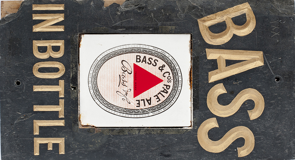 Bass Brewery Slate Advertising Sign Bass In Bottle