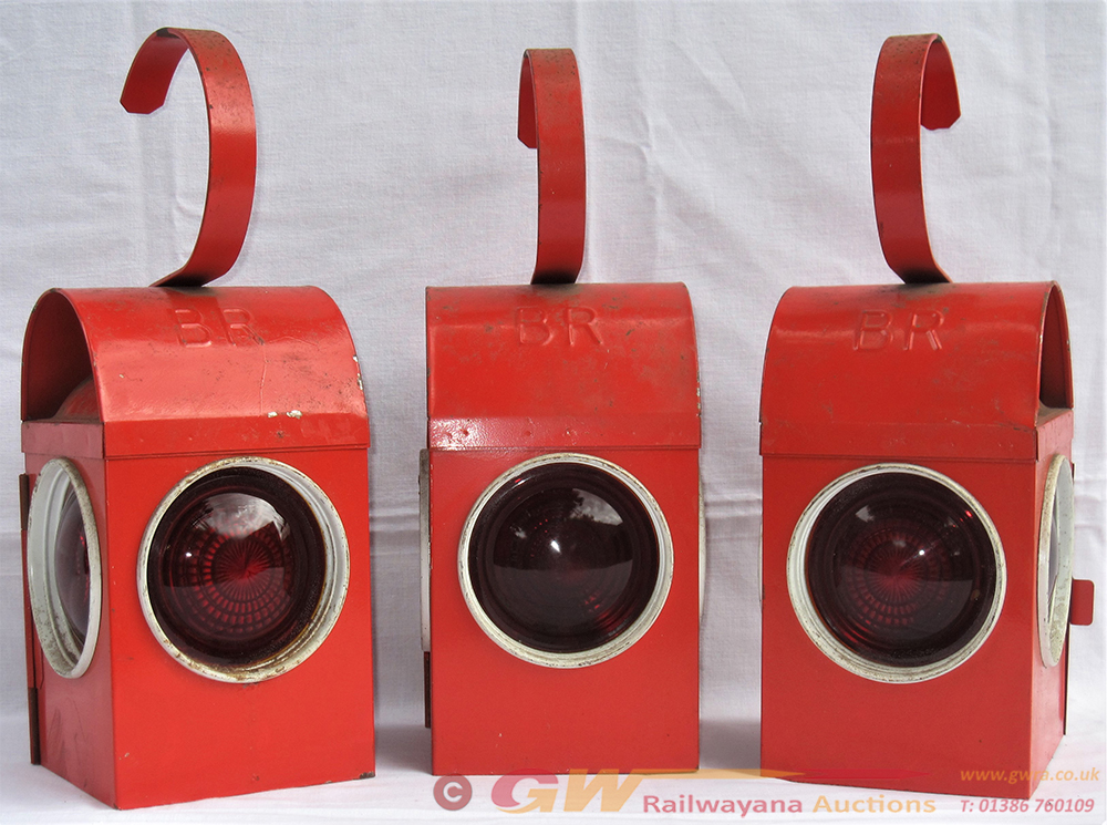 3 X BR Red Lens Road Style Warning Lamps As Used