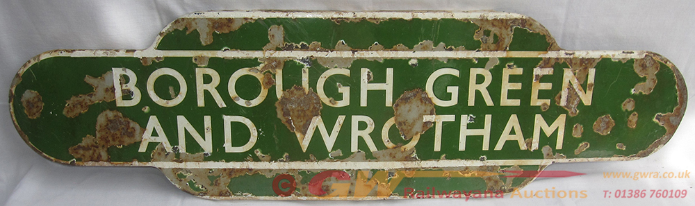 BR(S) Enamel Station TOTEM SIGN. BOROUGH GREEN And