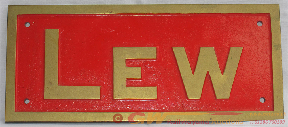 Reproduction Brass Locomotive Nameplate. LEW. The