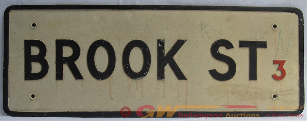 Pressed Aluminium Street Road Sign. BROOK St 3.