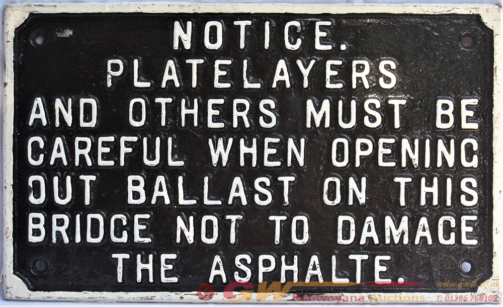 GWR Untitled Cast Iron Platelayers Sign Ref