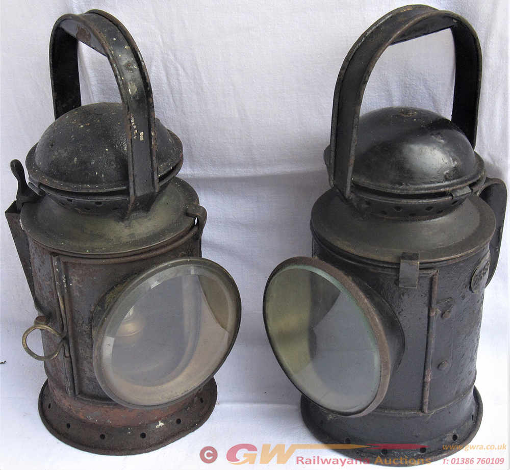Two GWR Post Grouping Hand Lamps. One 4 Aspect
