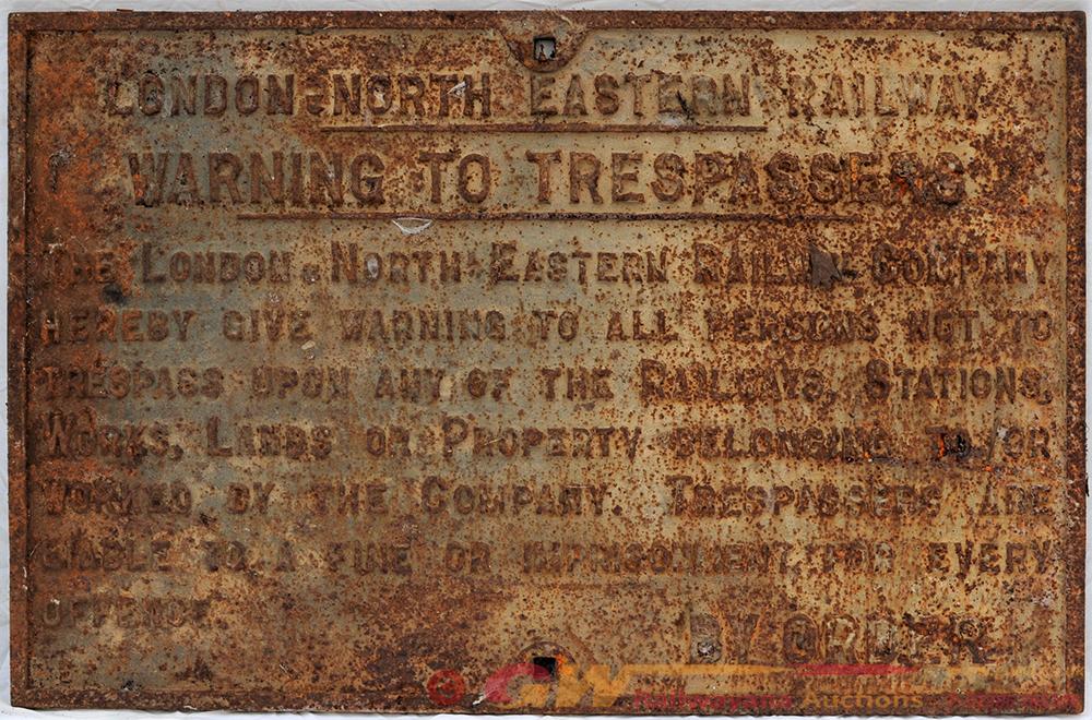 LNER Cast Iron Trespass Sign. LNER WARNING TO