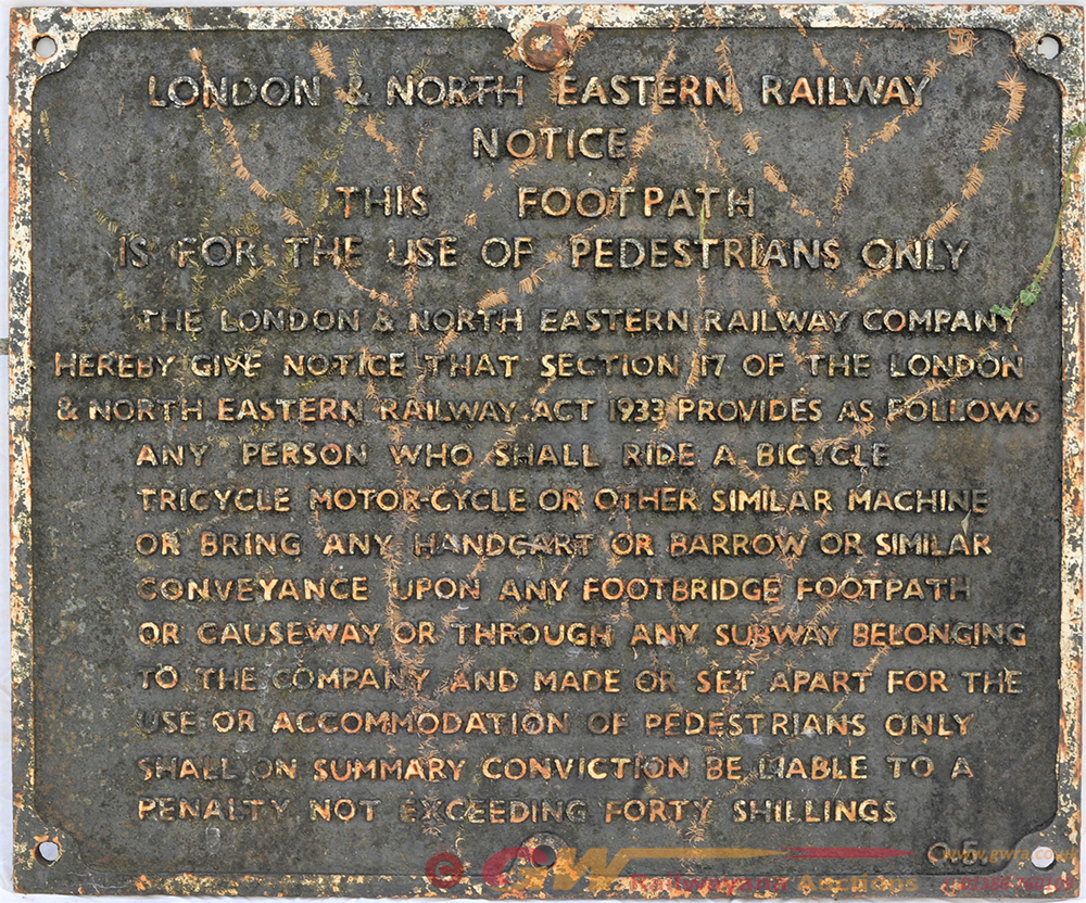 LNER Foot Path Notice. LNER THIS IS FOR THE USE OF