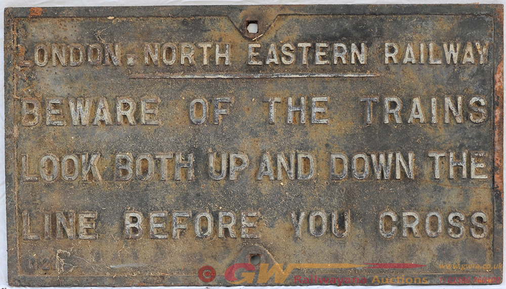 LNER Cast Iron Sign. BEWARE OF THE TRAINS. 0.21.