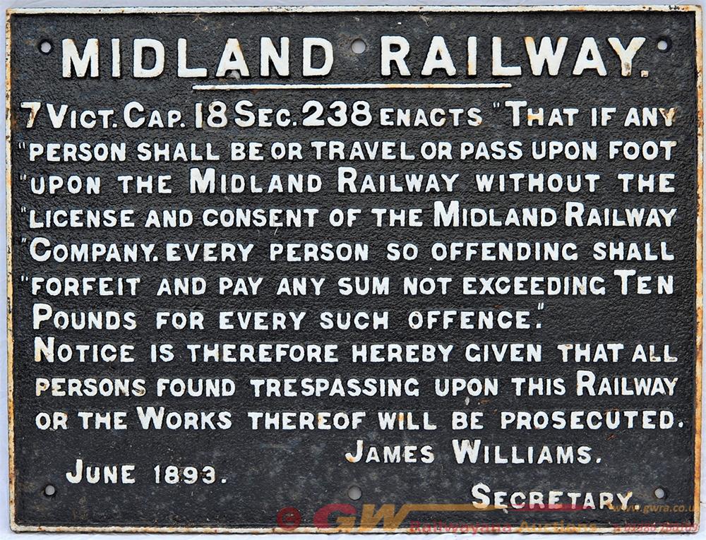 Midland Railway Cast Iron Trespass Sign. ANY