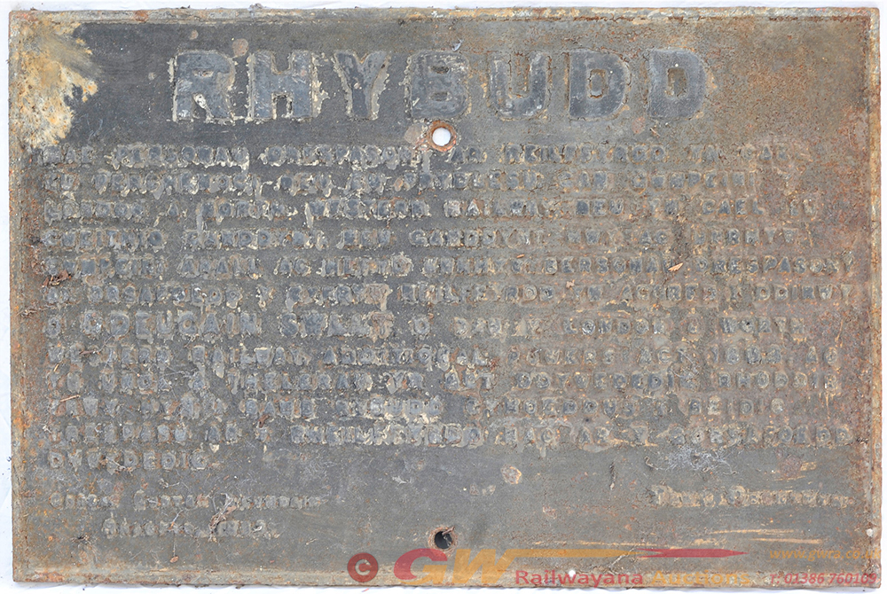 LNWR RHYBUDD Cast Iron Trespass Notice From Wales