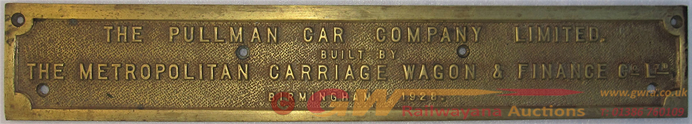 Brass Pullman Carriage Works Plate. THE PULLMAN