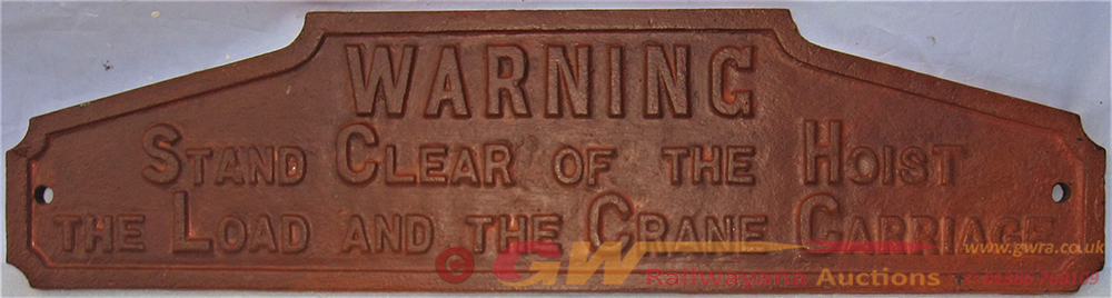 Crane Jib Or Boom Plate. WARNING STAND CLEAR OF
