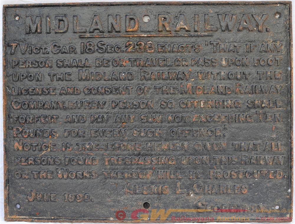 Midland Railway Cast Iron Trespass Notice. WARNING