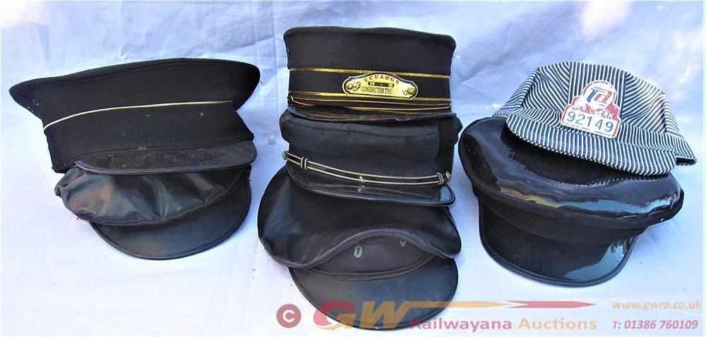 A Lot Containing 7 X Railway Uniform Caps Of