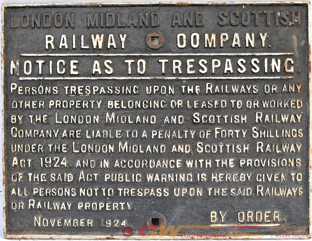 LMS Railway Company Cast Iron Trespass Notice.