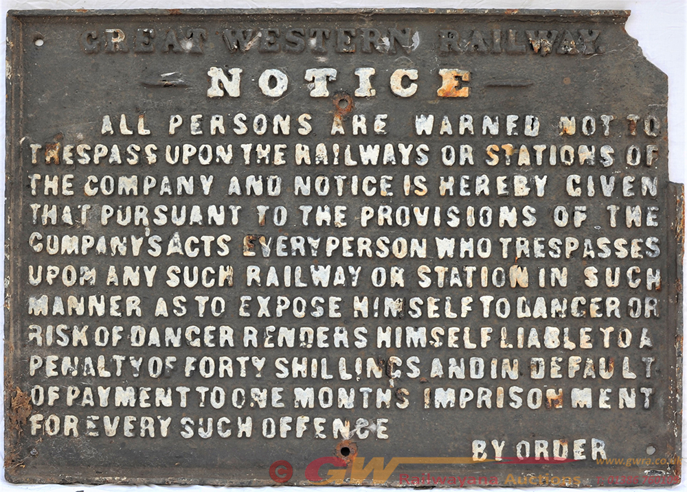 GWR Pre Grouping Cast Iron Trespass Notice.