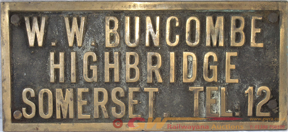 A STEAM ROLLER Brass Owners Plate. W.W. BUNCOMBE