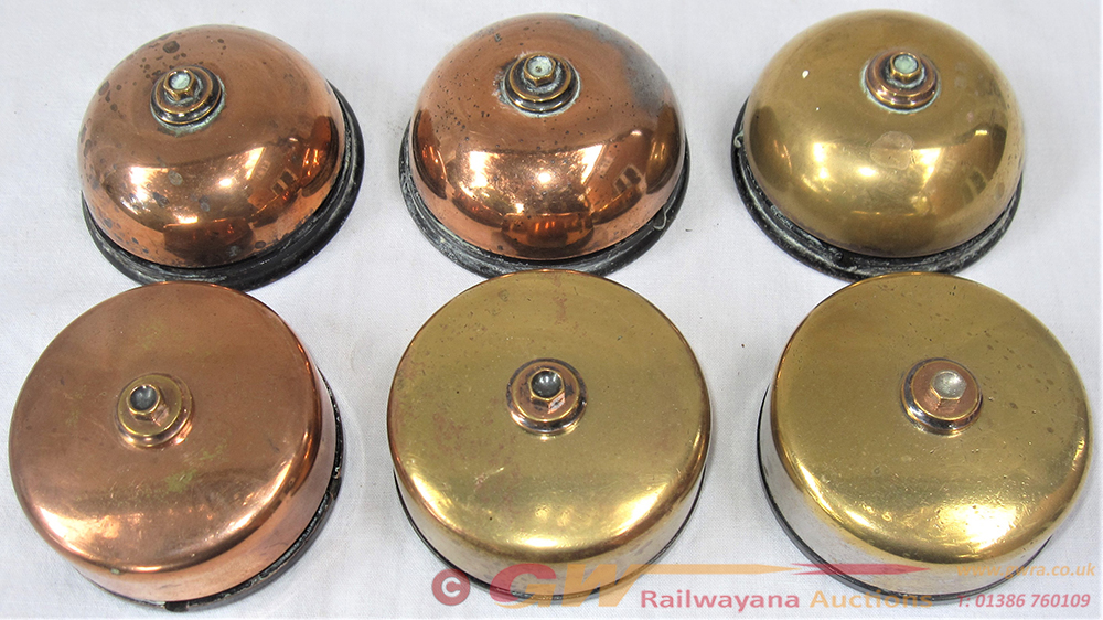 6 X Spare GWR Brass Telephone Bells As Fitted To