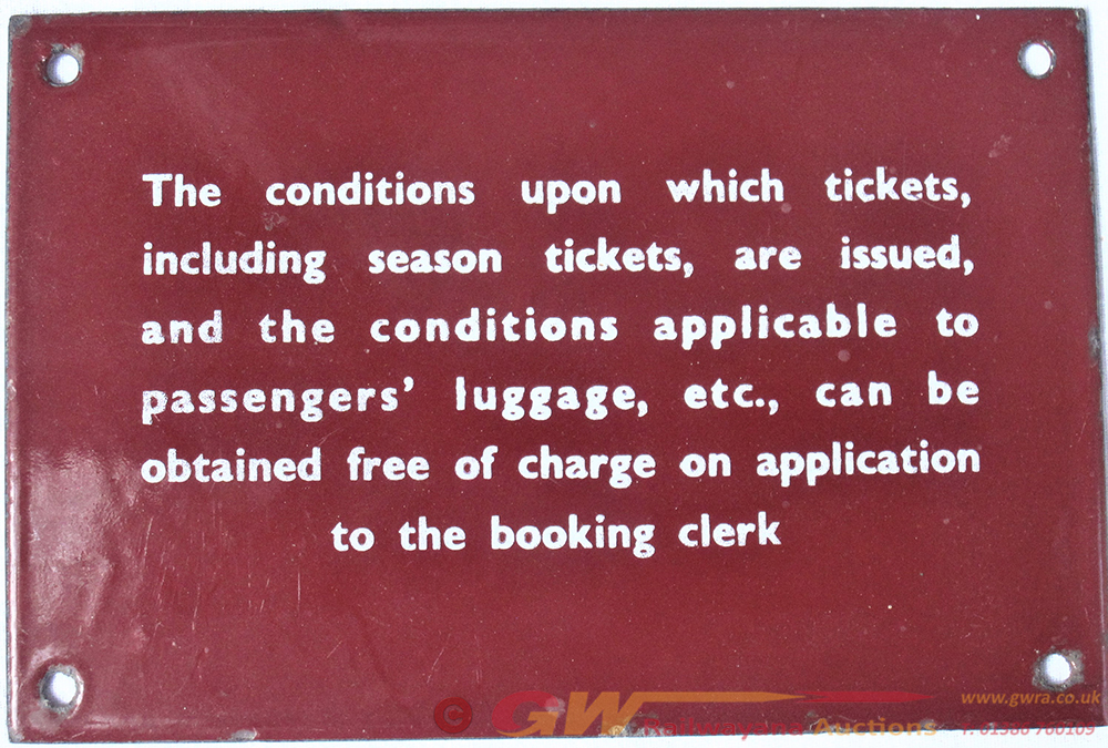 LMR Maroon Enamel TICKETS ISSUING SIGN. In Very