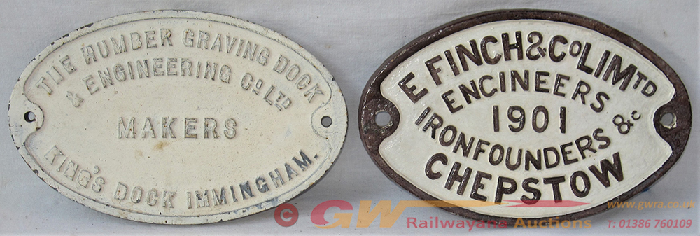 2 X Cast Iron Oval Makers Plates. THE HUMBER