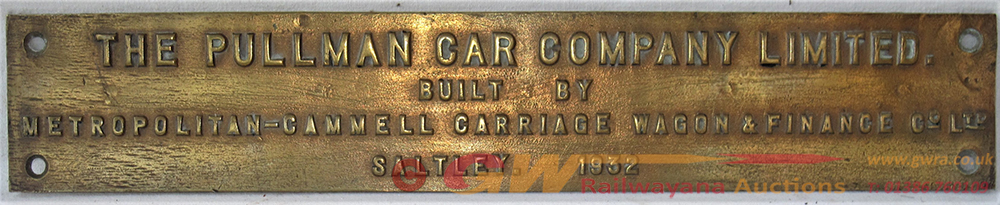 PULLMAN Bronze Step Plate. THE PULLMAN CAR COMPANY
