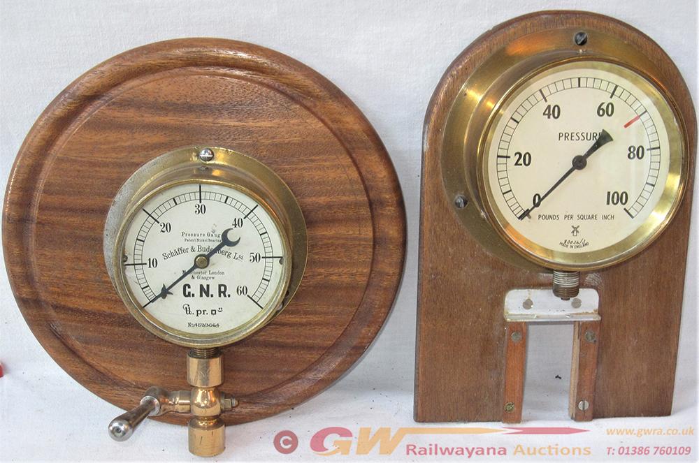 2 X Steam Pressure Gauges. GNR 0 - 60 PSI Brass