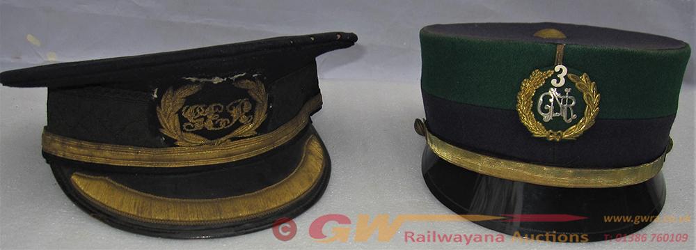 2 X Railway Uniform Caps. Senior Grade With Gold