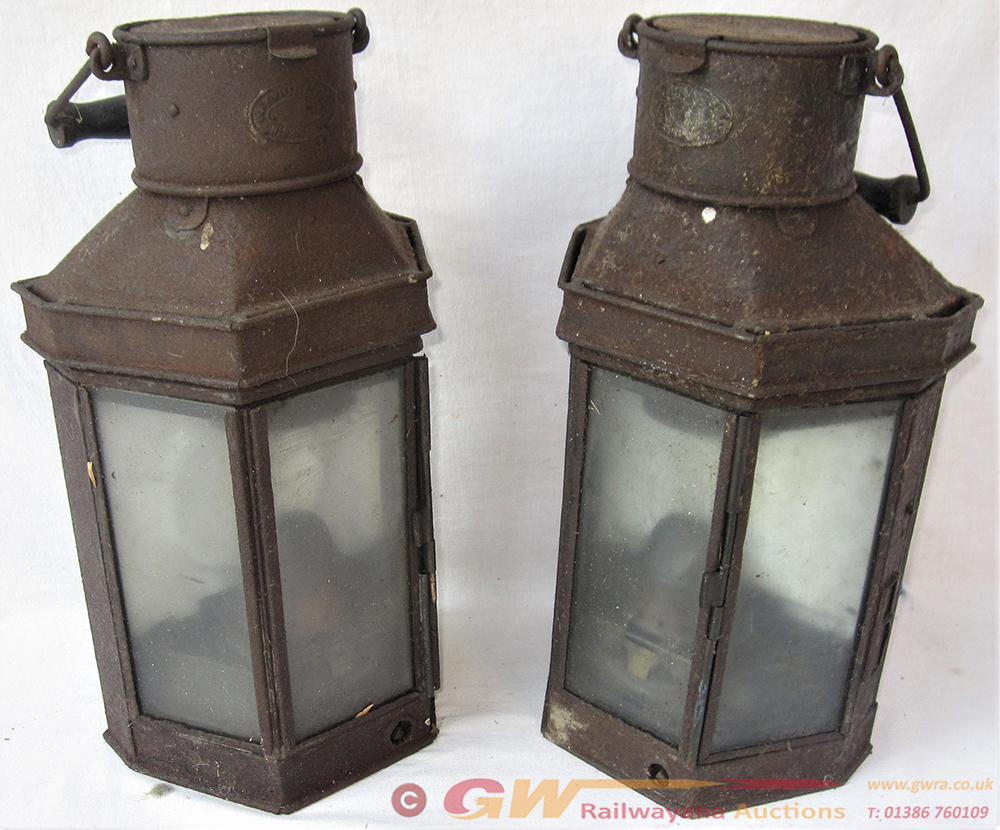 A Pair Of Removable Wall Mounted Oil Lamps.
