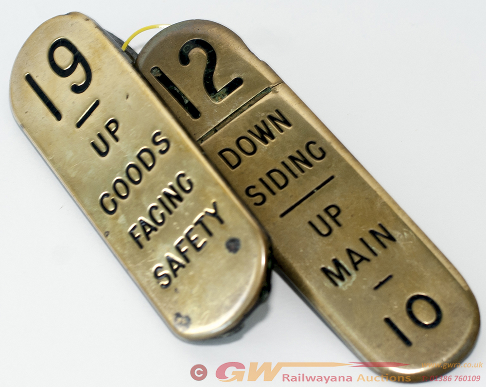 2 X GWR Brass Lever Plates. 12 - DOWN SIDING UP