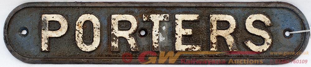 LNER Cast Iron Door Plate. PORTERS. Traces Of