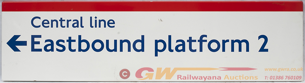 London Transport Enamel Sign. CENTRAL LINE East