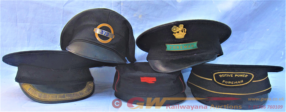 A Lot With 5 X Railway Uniform Caps To Include