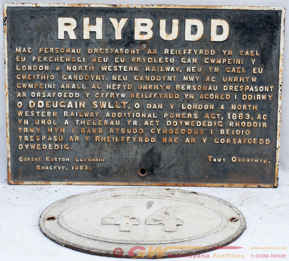 LNWR Cast Iron Sign RHYBUDD Together With An LMS