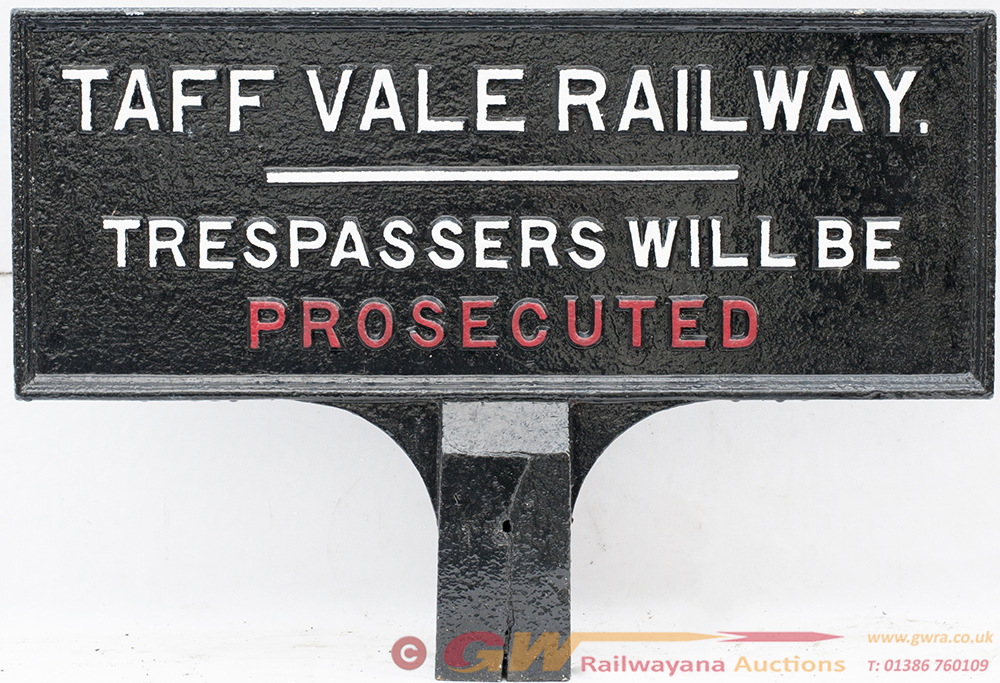 Taff Vale Railway Post Mounted Double Sided