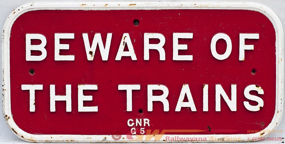 GNR Cast Iron BEWARE OF TRAINS Notice. In Good