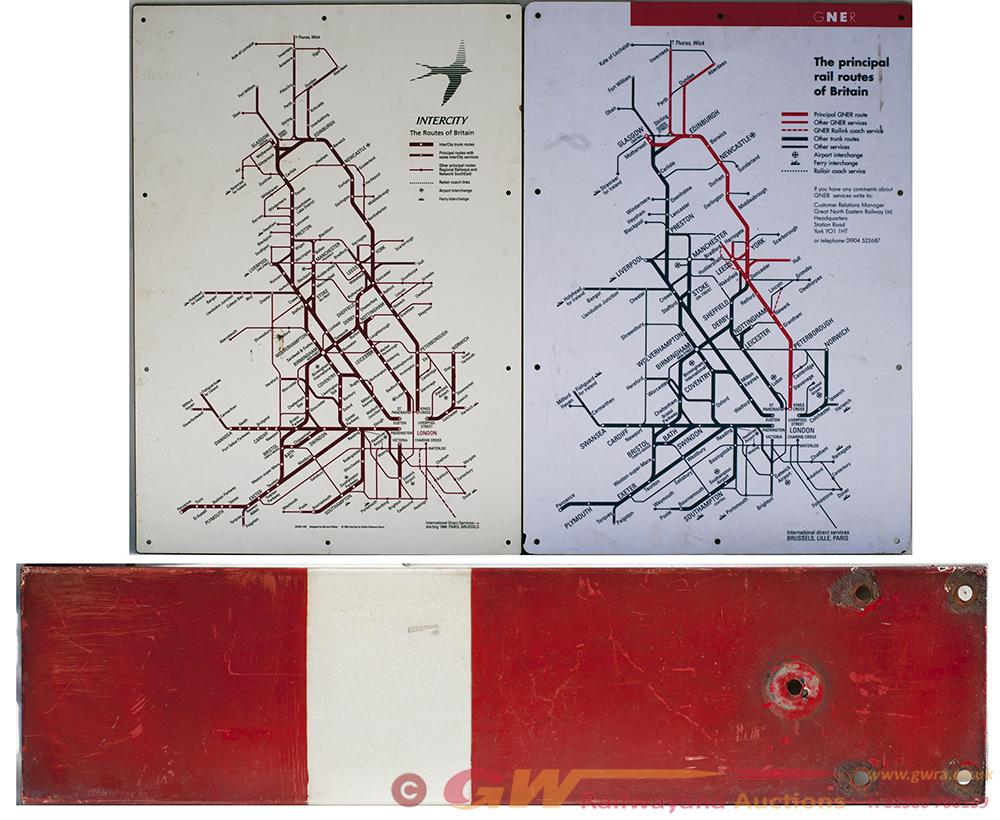2 X Enamel MELAMINE MAPS INTERCITY GNER. In