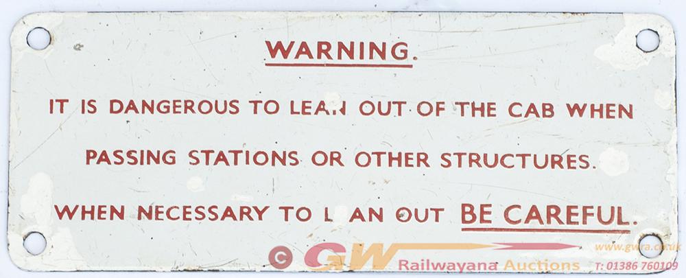 SR Locomotive Enamel  Cab Plate. IT IS DANGEROUS
