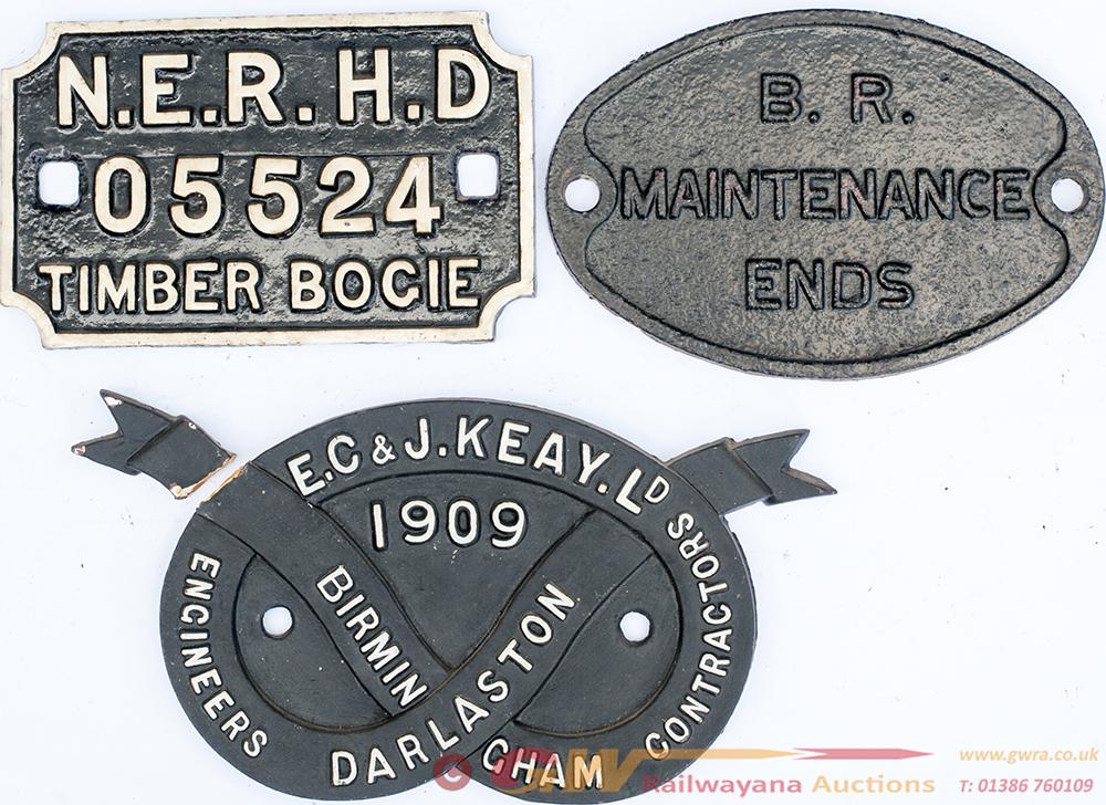 3 X Cast Iron Plates. NER Bogie Plate. EC & J KEAY