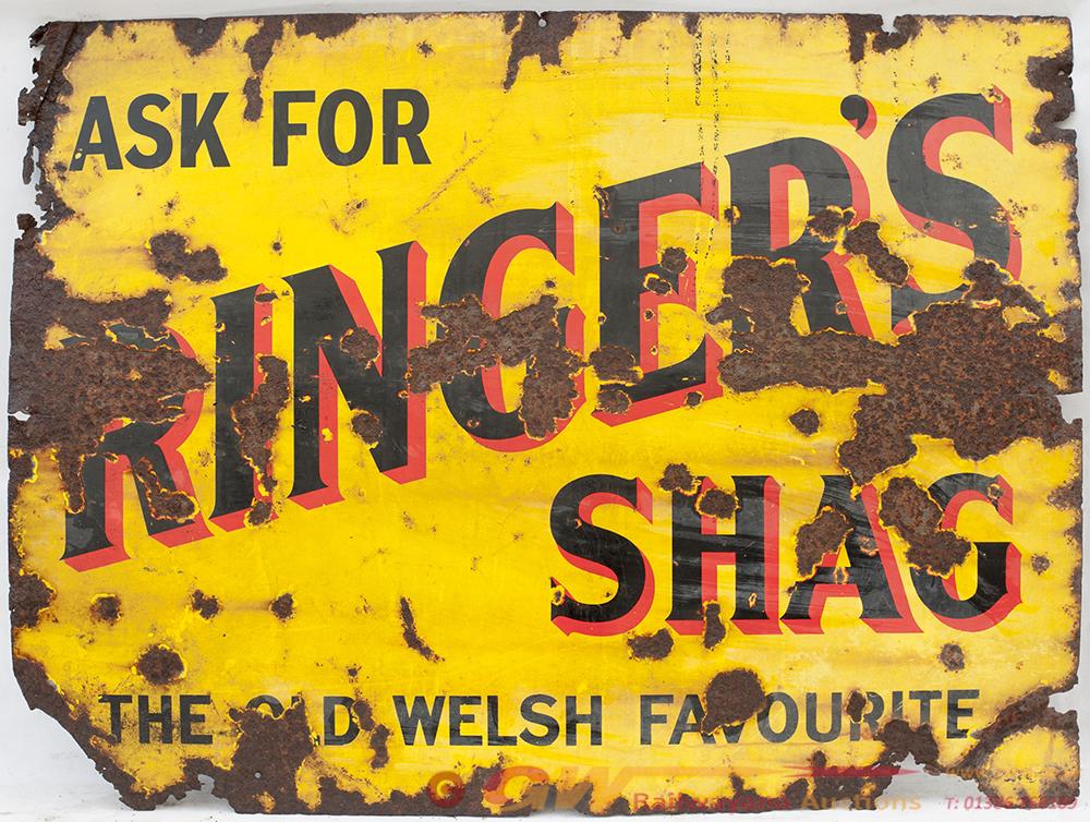 Enamel Advertising Sign. RINGER'S SHAG. THE OLD